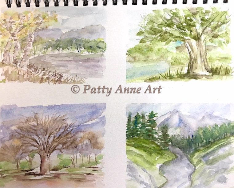 quick mini landscape practice pieces