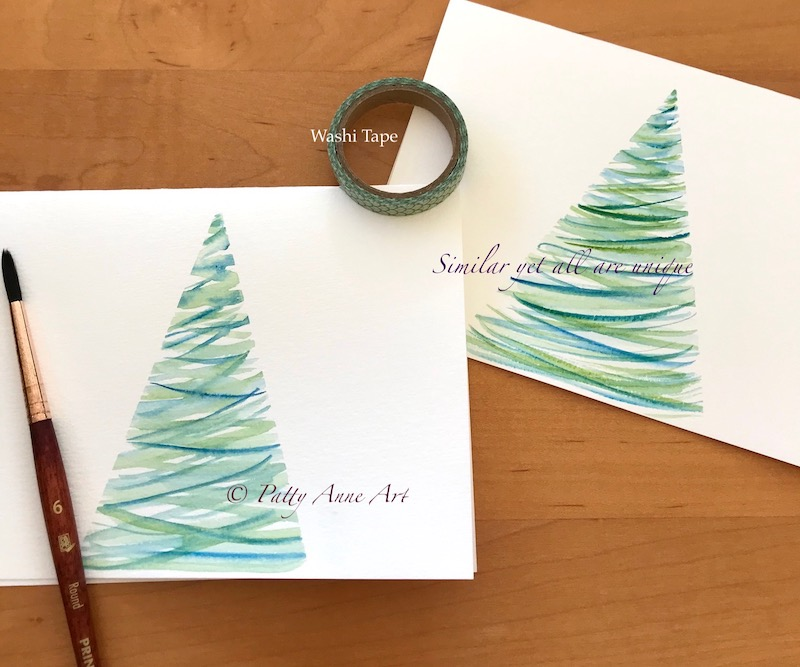 Watercolor cards - tree samples