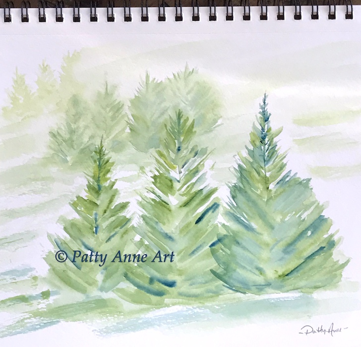 snowy pines watercolor base