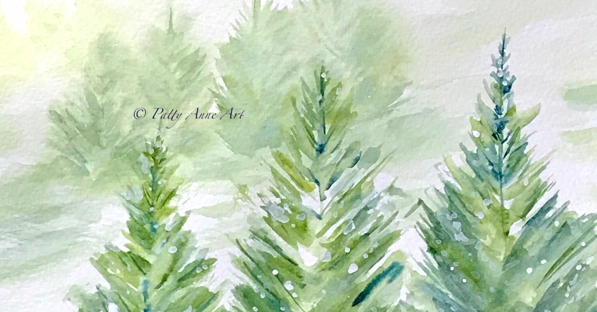 Painting Snowy Pine trees