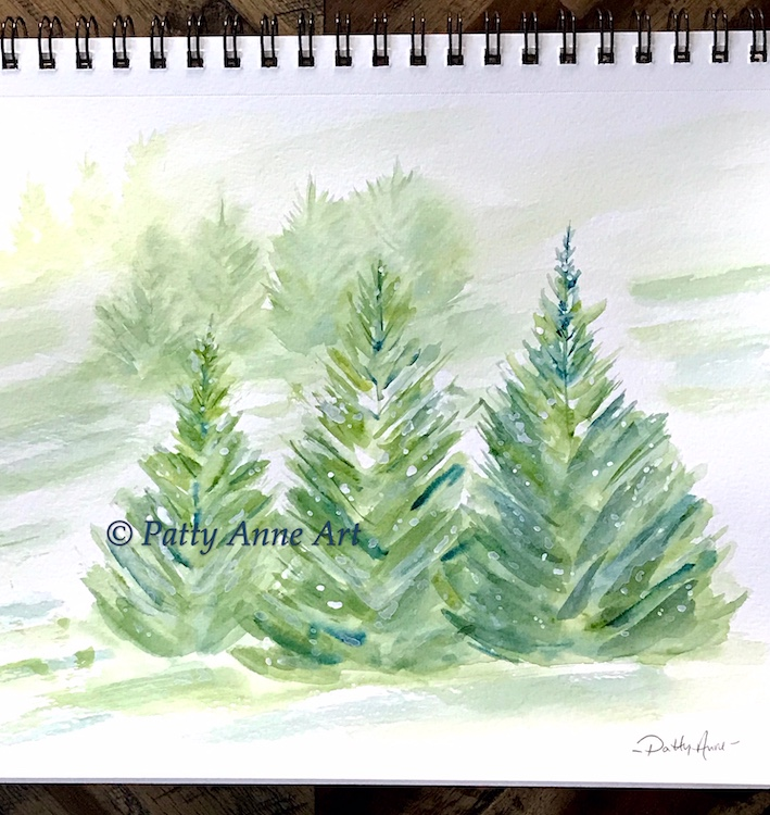 snowy pines watercolor