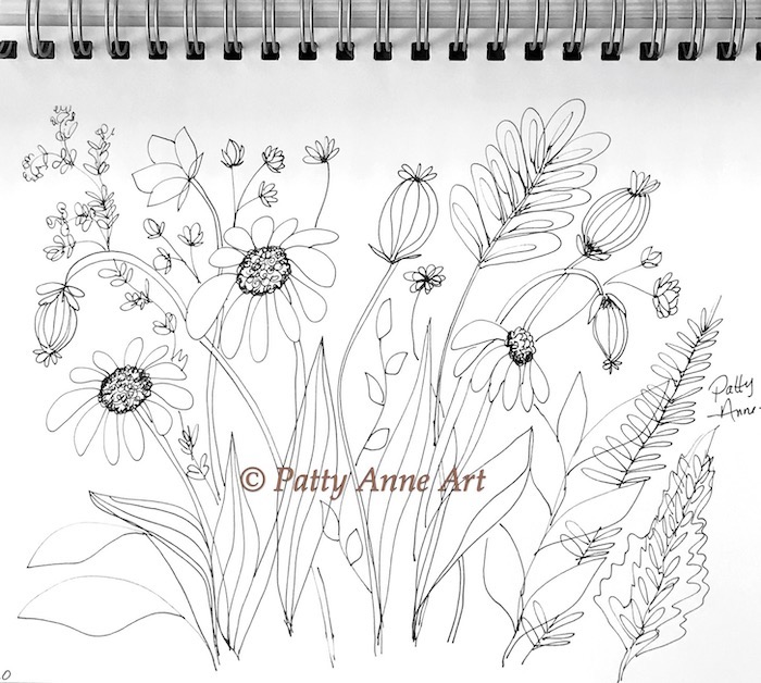 Doodles and flowers sketch