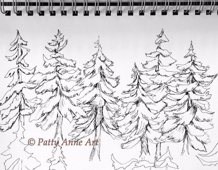 Sketching ink pines