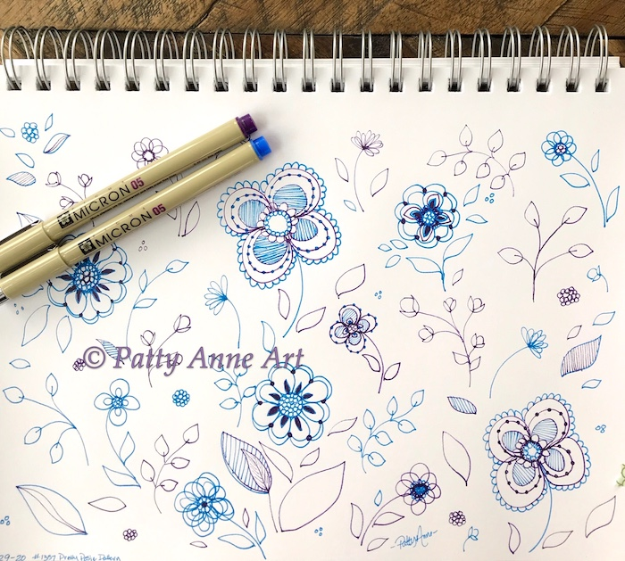 Pretty Posies ink sketch