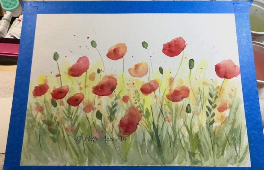 Poppies in the Sun watercolor painting