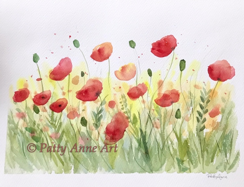 Poppies in the Sun watercolor
