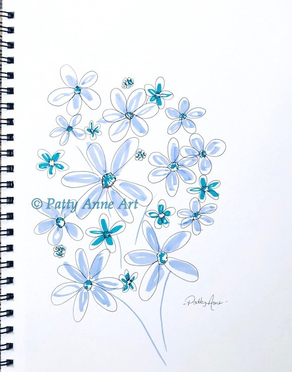 Joyful flowers - brushpens and ink