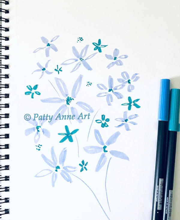 joyful flowers with brushpens