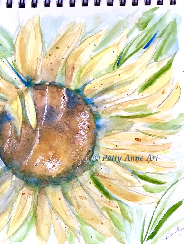 sunflower watercolor with wax resist