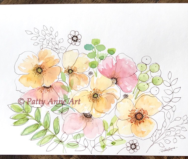 watercolor floral ink sketch
