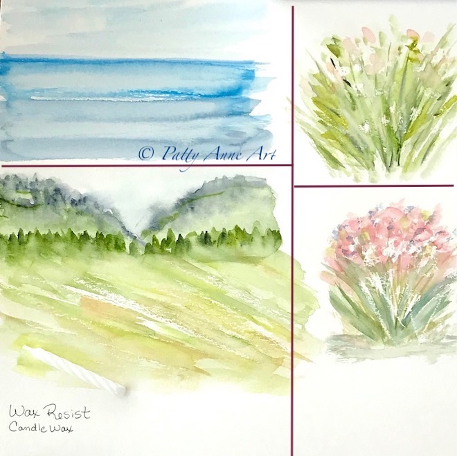 Watercolor examples using candle wax