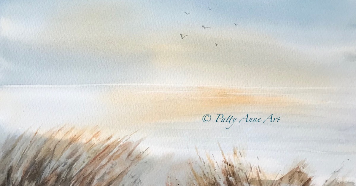 Evening at the Beach watercolor