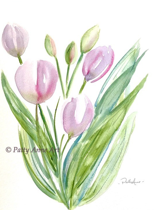 lavender tulips watercolor