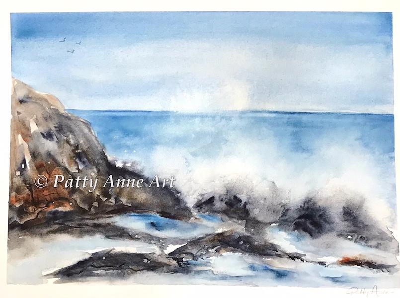 crashing waves watercolor