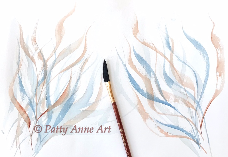Flowing watercolor using dagger brush