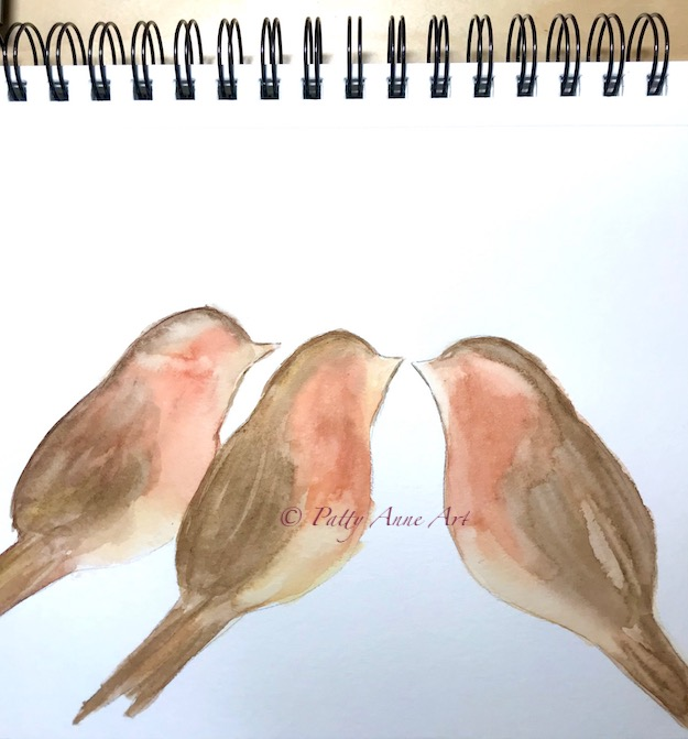 watercolor bird painting initial layers