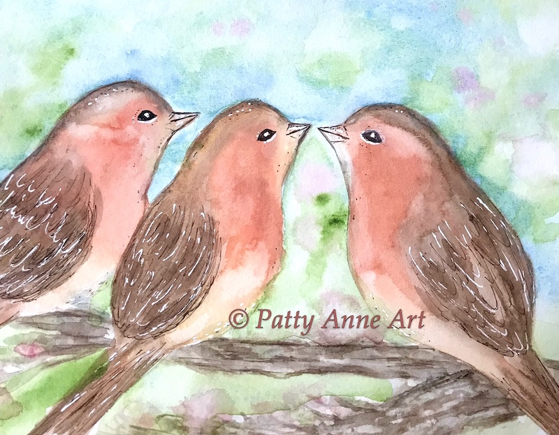 sweet birds on a branch watercolor