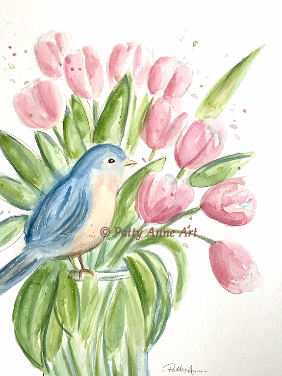 Bluebird and Tulips watercolor