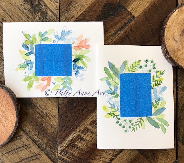 watercolor card with tape masking