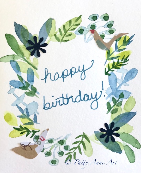 watercolor card with embellishments