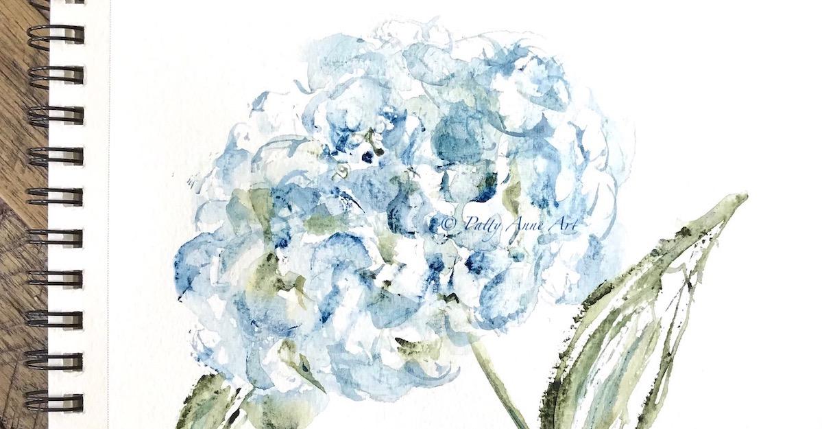 Blue Hydrangea watercolor
