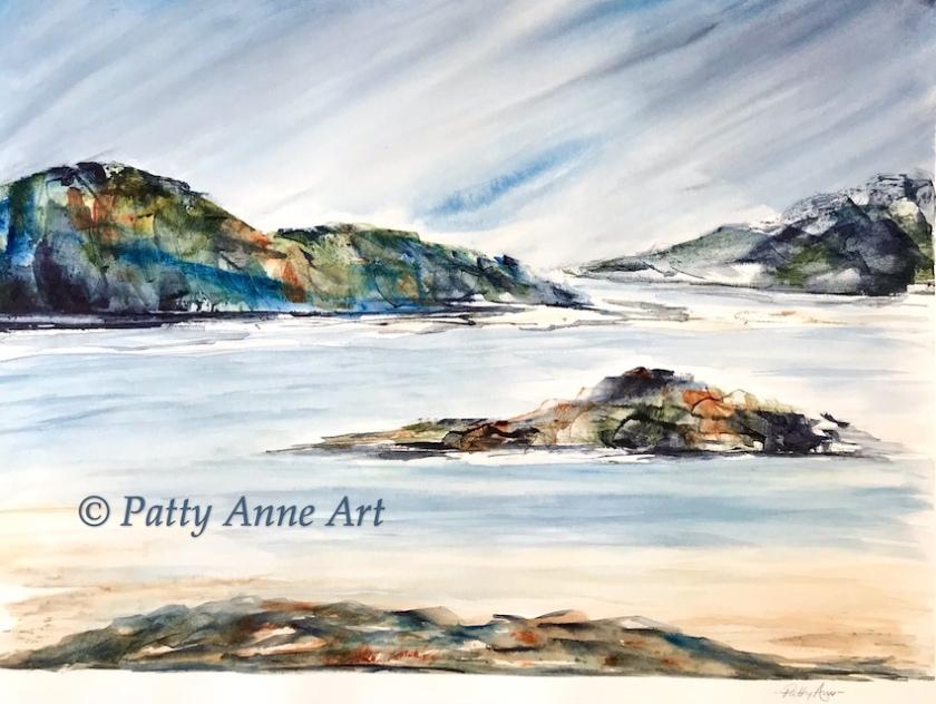 Rocky beach watercolor