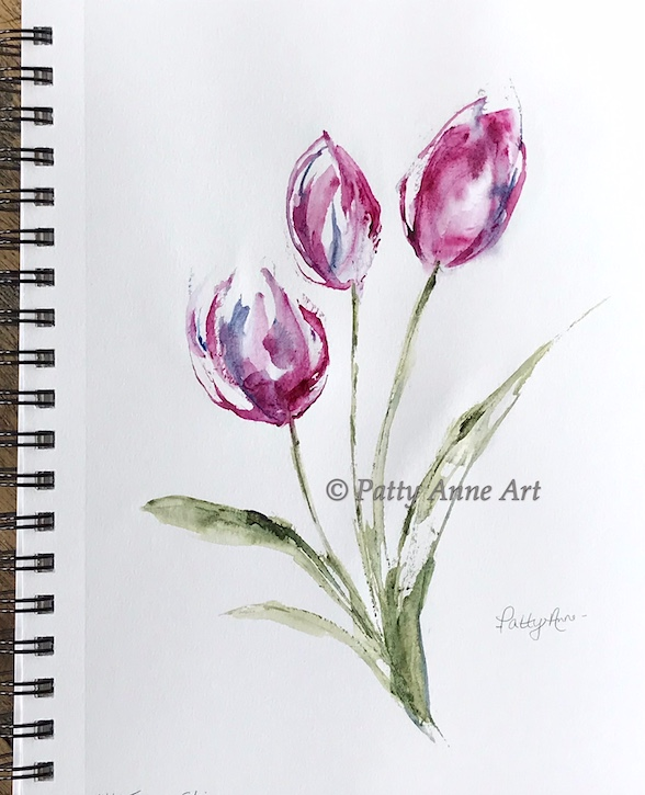 sweet pink tulips watercolor
