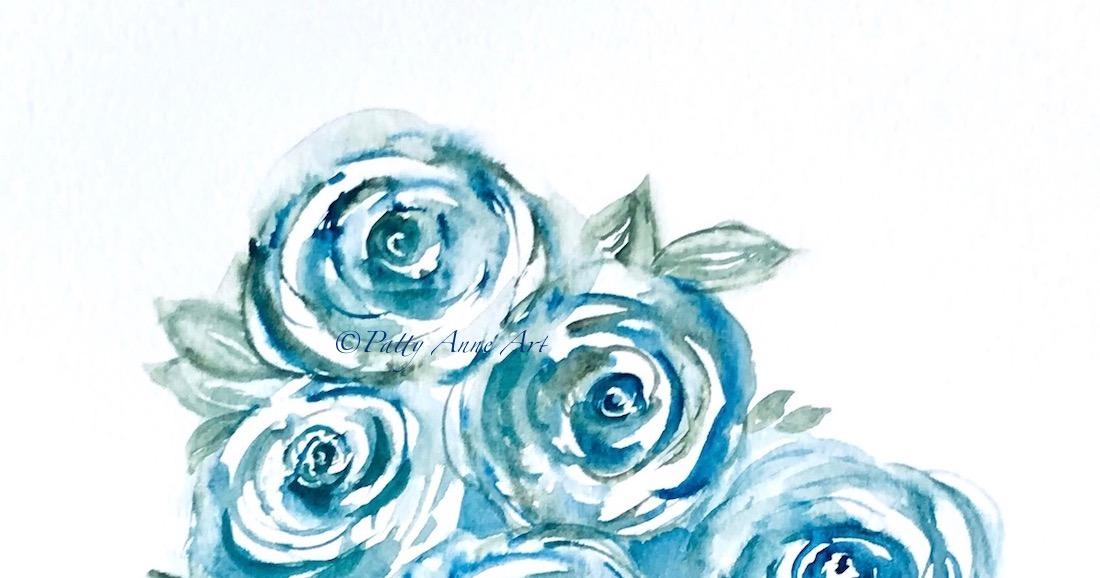 Blue Roses watercolor