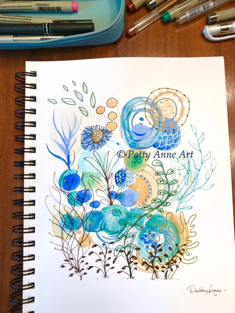 Undersea watercolor and ink