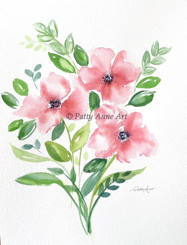 coral pink watercolor floral