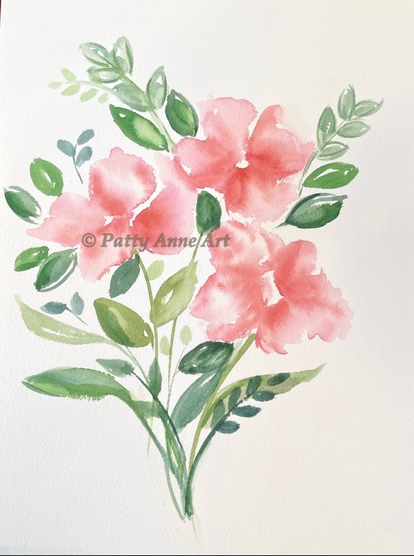 coral pink watercolor floral without centers