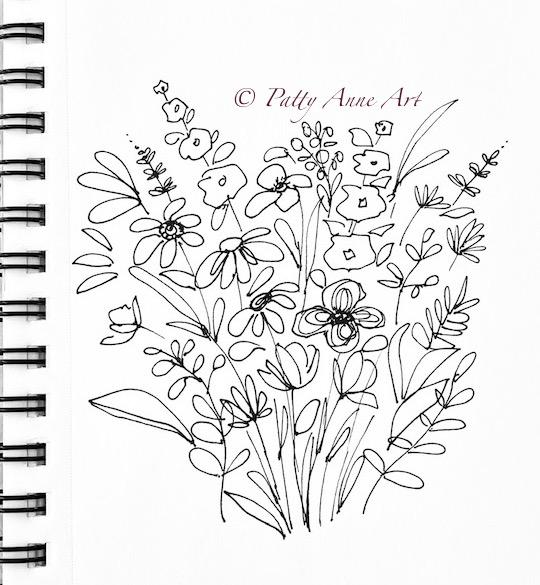 floral bouquet sketch