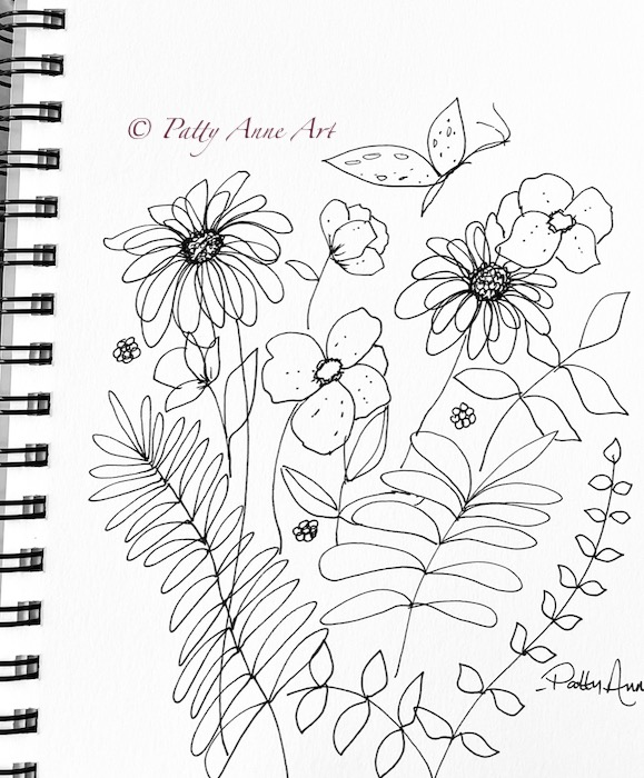 garden sketch with butterfly