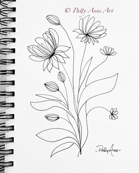 simple sketchbook flowers