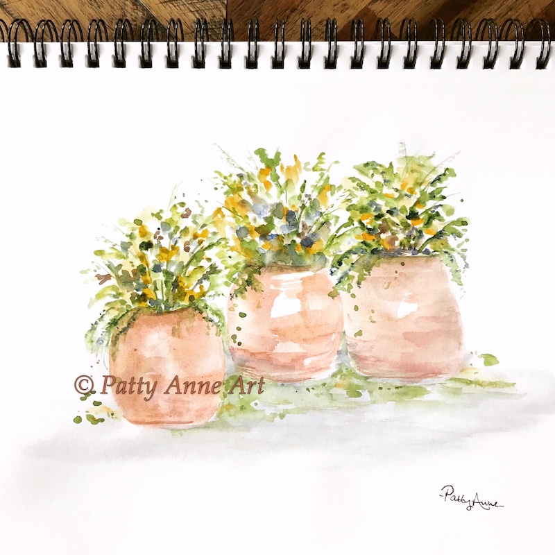 potted plants - three in a row