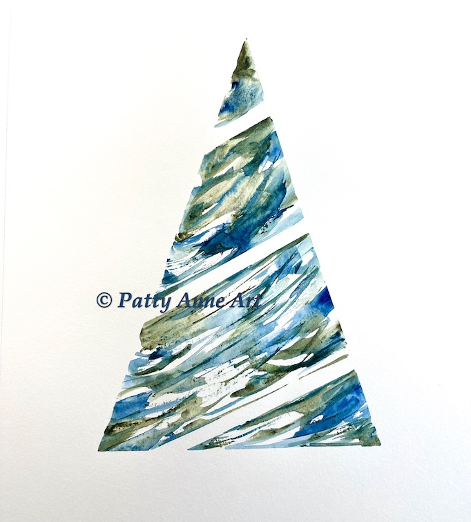 watercolor tree painted with tape guide