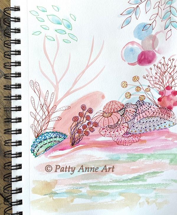 undersea painting in progress ink detail