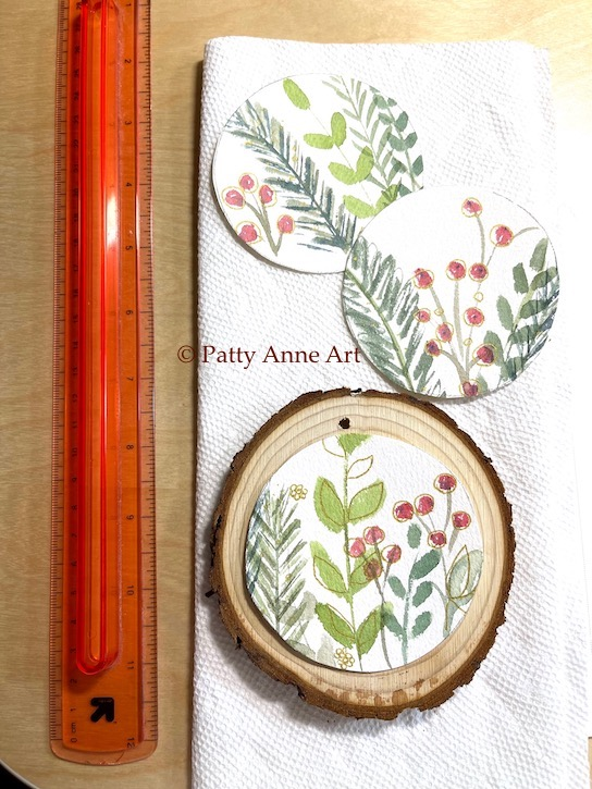 Working on wood sliced ornaments